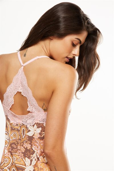 Lace Back Slinky Nightie, ADORNED PAISLEY/ESPRESSO