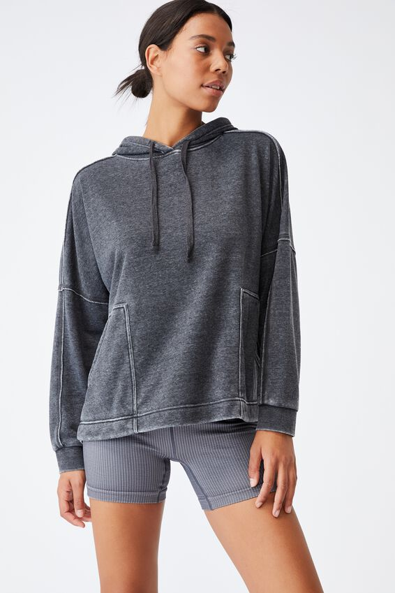 Lifestyle Relaxed Hoodie, WASHED BLACK