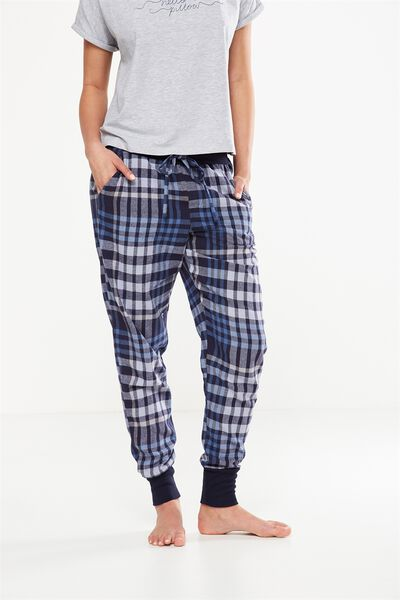 Cuffed Flannel Pant, MID INFINITY BLUE CHECK