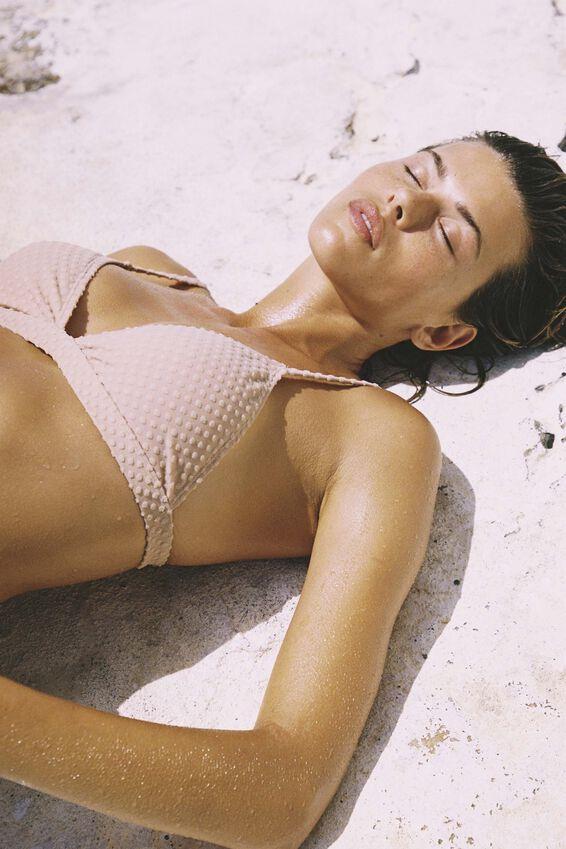 Fixed Triangle Bikini Top Terry, MACADAMIA TERRY SPOT