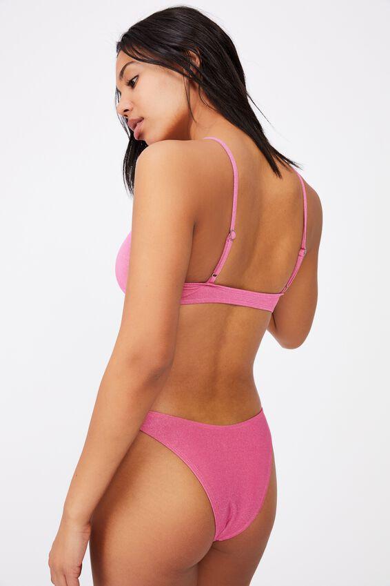 U Crop Bralette Bikini Top (Shimmer), PINK SHIMMER