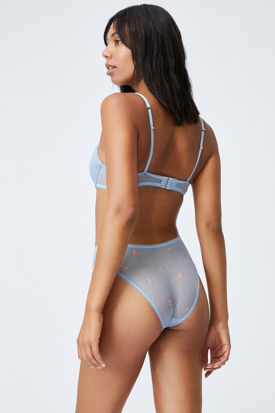 We Just Mesh Contour Bra, FLORAL LACE BLUE BIRD PRINT