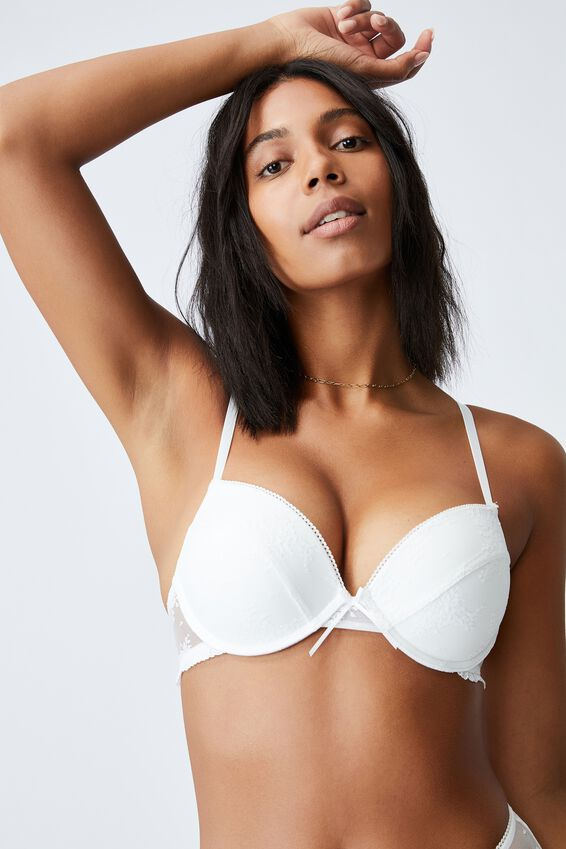 Cherry Blossom Plunge Push Up2 Bra, CREAM
