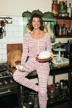 Henley Waffle Long Sleeve Top, LCN DIS MICKEY & MINNIE FAIR ISLE RED