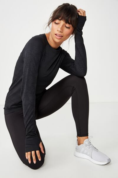 Seamfree Sports Longsleeve Top, BLACK MARLE