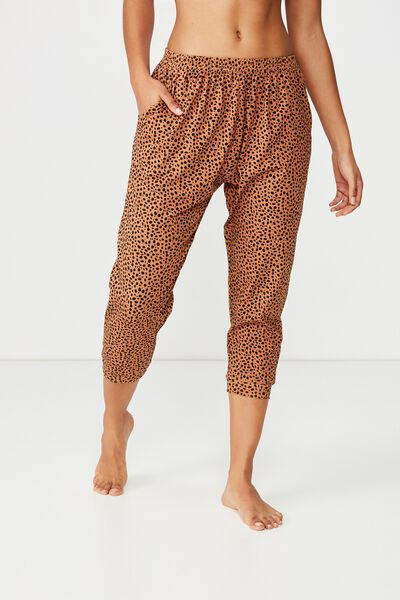 Jersey Cropped Cuffed Pant, SNOW LEOPARD