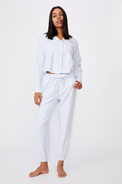 Flannel Sleep Shirt, PYJAMA STRIPE