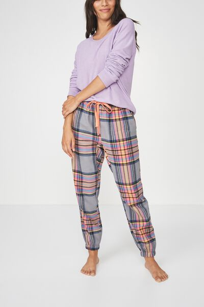 Dropped Flannel Pant, SPICED PUMPKIN MULTI CHECK