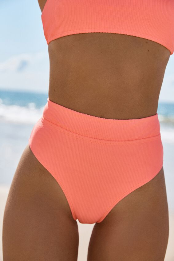 Highwaisted Banded Cheeky Bikini Bottom, FIZZ RIB