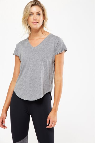 Rolled Sleeve Gym Tshirt, MID GREY MARLE