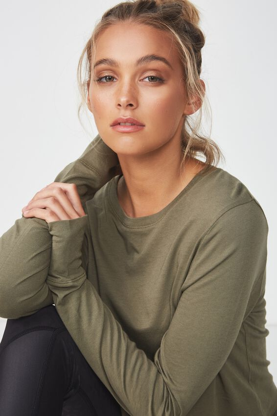 Cross Back Long Sleeve Top, OLIVE BRANCH