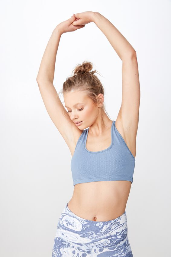 Workout Cardio Crop, FADED DENIM TEXTURE