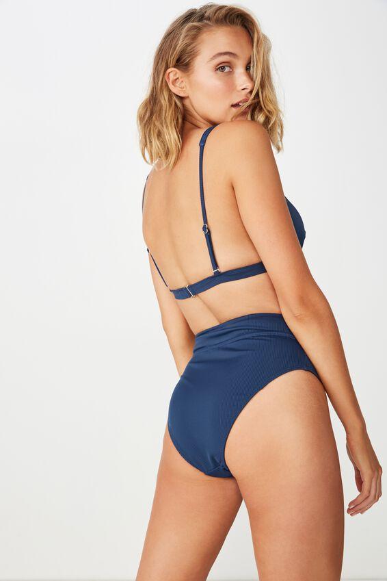 Highwaisted Banded Cheeky Bikini Bottom, NIGHTBLUE