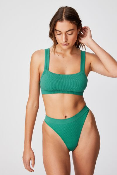 Seamless Chunky Straight Neck Crop, BOTTLE GREEN