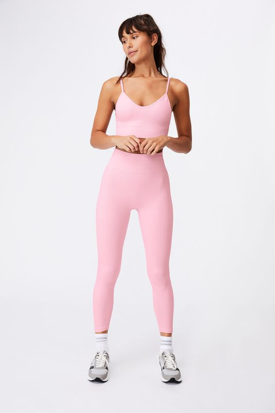 Lifestyle Seamless V-Neck Rib Crop, PINK SHERBET CHEVRON