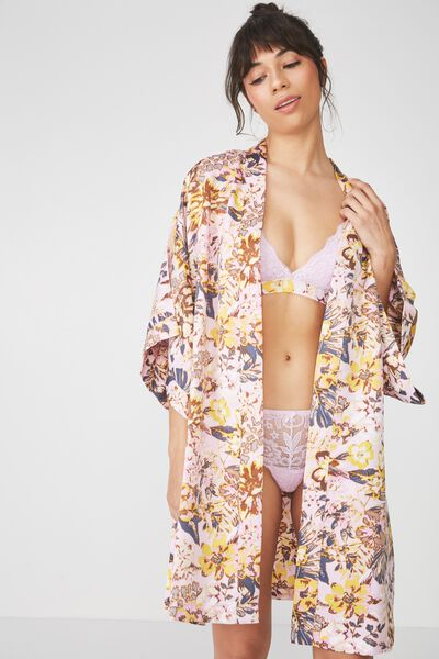 Kimono Gown, MISTED BLOOM/PASTEL LILAC