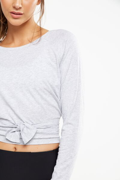 Knotted Hem Long Sleeve Top, GREY MARLE