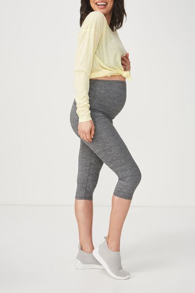 Maternity Core Capri Over Belly, SALT & PEPPER