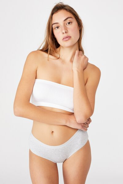 Organic Cotton Boyleg Brief, GREY MARLE RIB