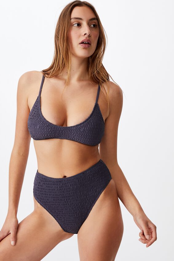 Highwaisted Cheeky Bikini Bottom, IRON SHIRRED