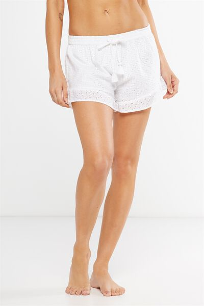 Textured Bedtime Shortie, WHITE