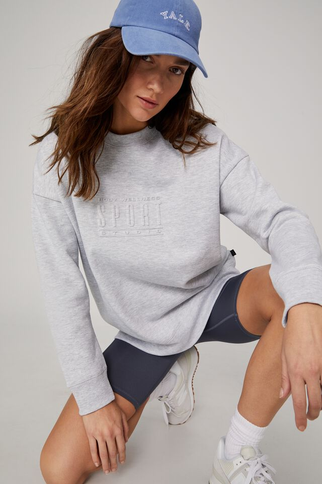 Lifestyle Long Sleeve Graphic Crew Top, GREY MARLE/ EMBOSSED BODY