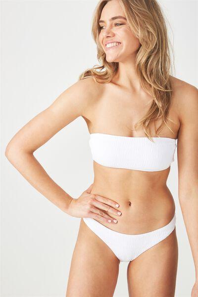 Aimee Shirred Straight Neck Bandeau Bikini Top, WHITE