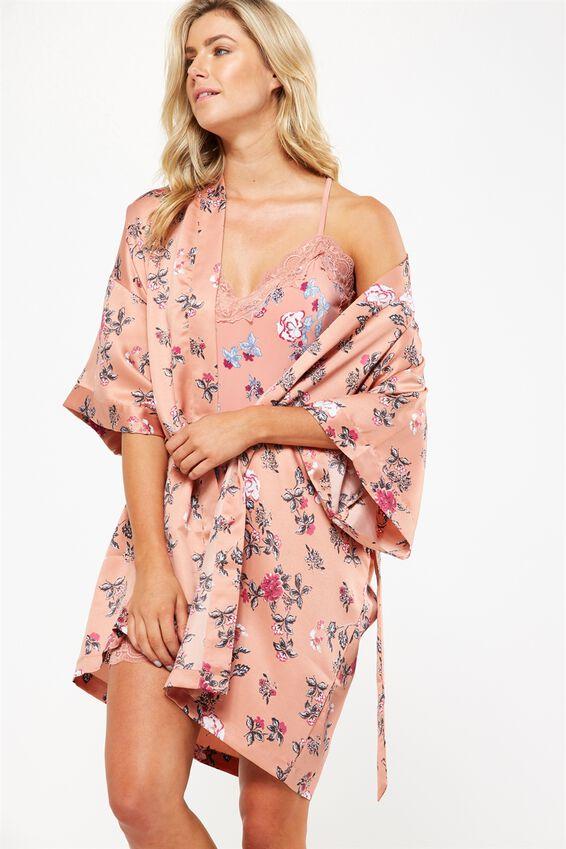 Kimono Gown, TOSSED FLORAL/POWDER PEACH