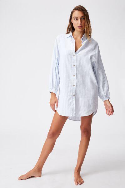 Warm Flannel Sleep Shirt Nightie, PYJAMA STRIPE