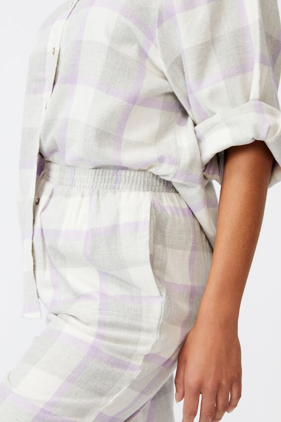 Warm Flannel Sleep Pant, FIELD CHECK ORCHID
