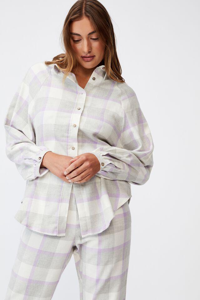 Warm Flannel Sleep Shirt, FIELD CHECK ORCHID
