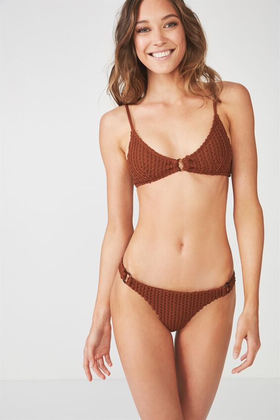 Josie Ring Cheeky Bikini Bottom, COCONUT HUSK