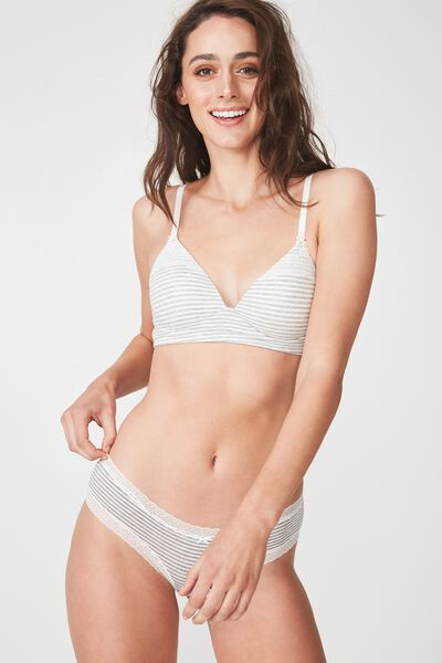 Supersoft Lounging Longline Bralette, GREY MARLE/CREAM STRIPE