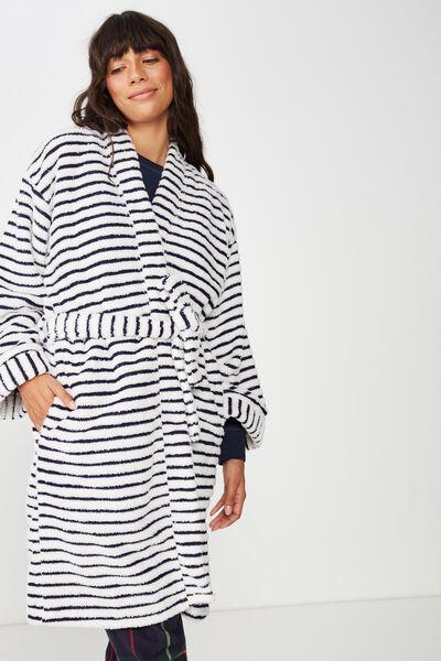 Kimono Plush Gown, NAVY BABY/MARSHMALLOW STRIPE