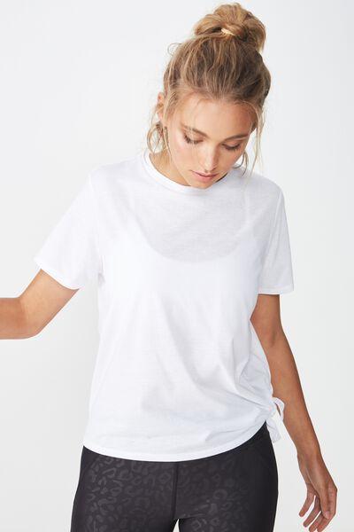 Side Tie Tshirt, WHITE
