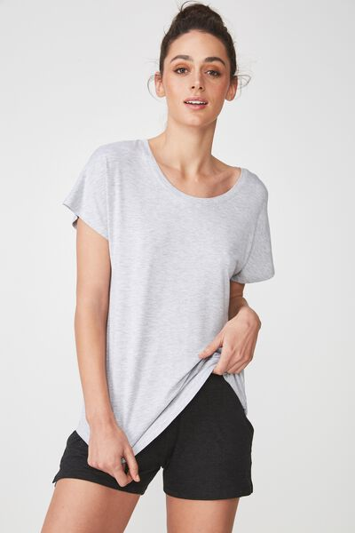 Sleep Recovery Cap Sleeve T Shirt, GREY MARLE