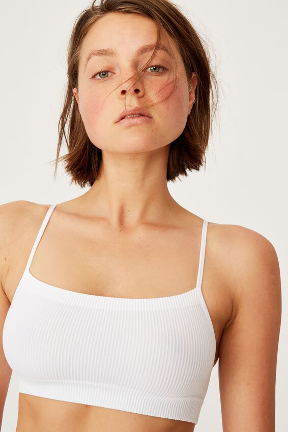 Seamless Straight Neck Crop, WHITE