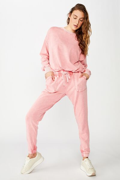 Washed Gym Trackpant, CAMEO PINK WASH