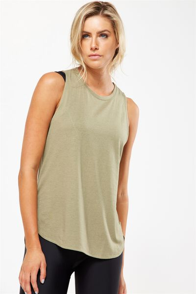 Scooped Flow Tank Top, HIKING GREEN