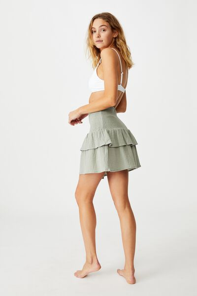 Shirred Beach Skirt, KHAKI