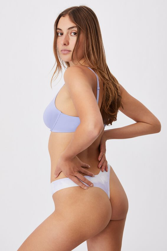 The Invisible G String Brief, LINEAR TIE DYE CHALKY LAVENDER PRINT