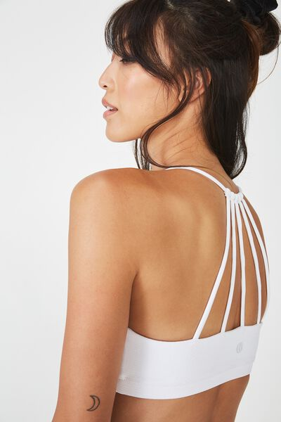 Essential Strappy Sports Crop, WHITE TEXTURE