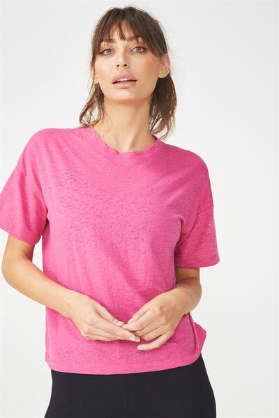 Boxy Burnout T Shirt, VERY BERRY