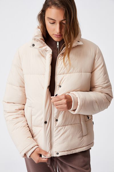 The Recycled Mother Puffer Jacket, CREME BRULEE