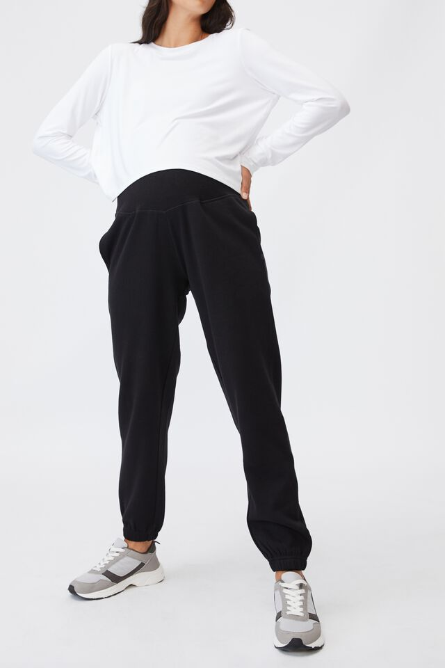 Maternity Lifestyle Gym Track Pant, BLACK