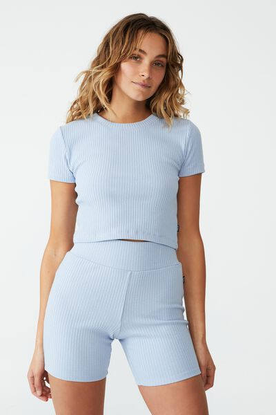 Fitted Rib Cropped Tshirt, ICED SKY