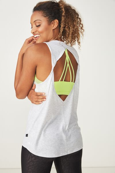 Twist Back Two In One Tank Top, GREY MARLE/LIMELIGHT