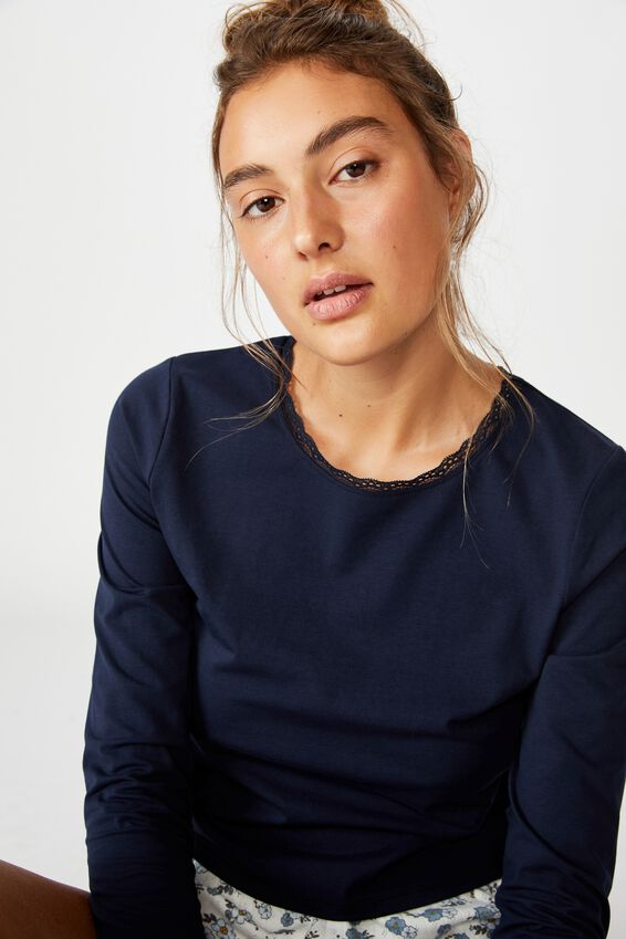Bed Time Jersey Top, NAVY