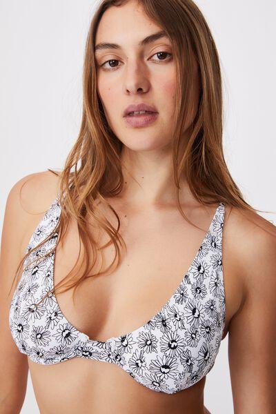 Half Wire Bralette Bikini Top, DAISY GARDEN WHITE