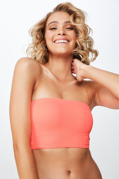 Cora Rib Longline Bandeau Bikini Top, NEON DEWBERRY